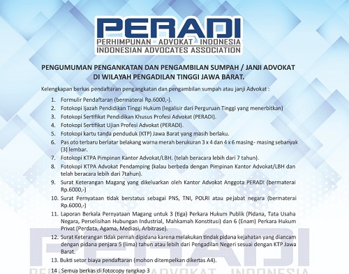 DPC Peradi Kabupaten Bogor Buka Pendaftaran Sumpah Advokat