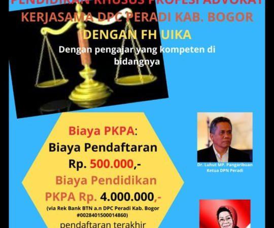 PKPA Online Peradi Kab. Bogor dan FH UIKA